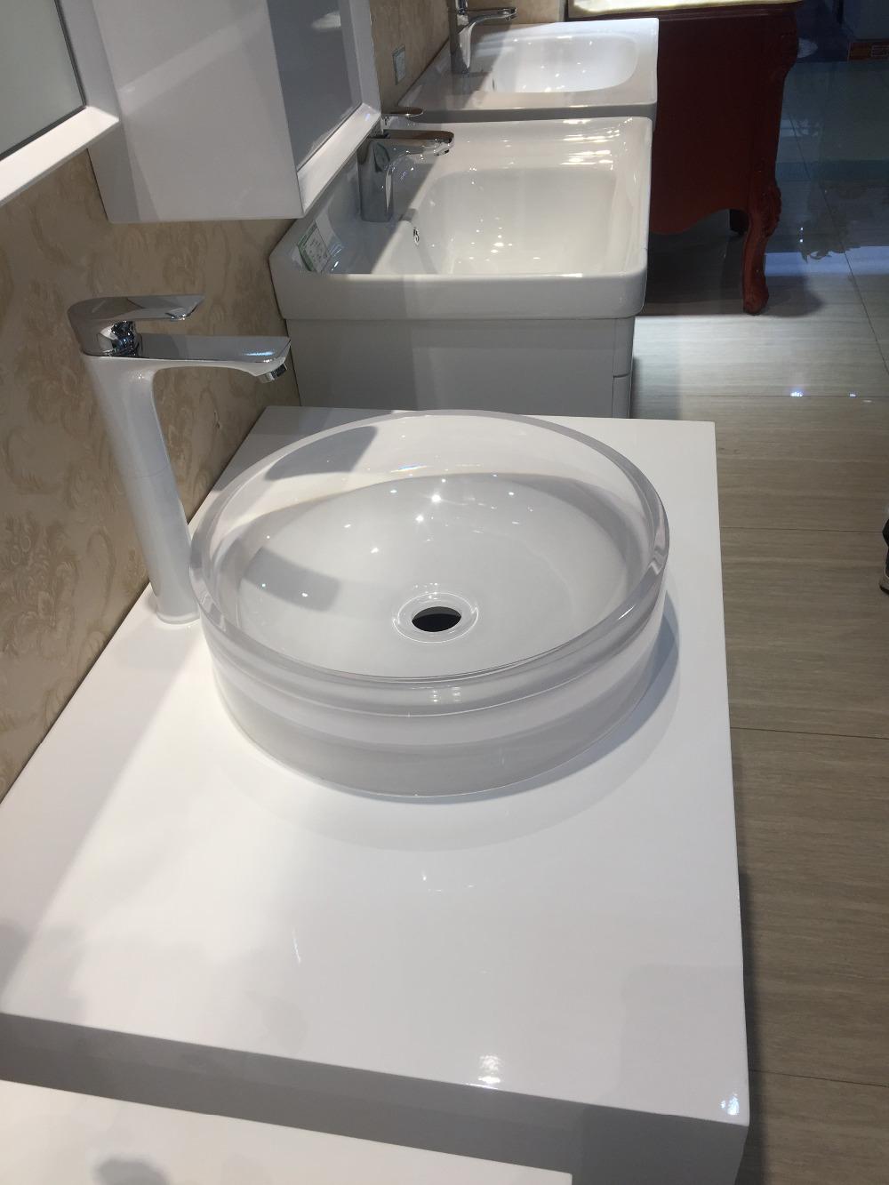 US $299.0  Bagno rotonda In Resina Top Contatore Lavello del vaso  Guardaroba Vanità Sopra Il Contro colorato washbasinRS38245 430-in Lavabi  per bagno ...
