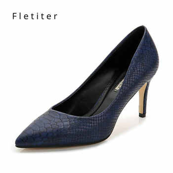 Women Shoes High Heels leather dress pumps shoe Ladies Pointed Toe Elegant Work Blue Pumps Genuine Leather shoes womens Fletiter - DISCOUNT ITEM  54% OFF All Category