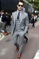 Tailor Made Gray Men Suits Slim Fit Groom Prom Dress Tuxedo 3 Piece Male Blazer Best Man Business Clothes Jacket+Pant+Vest Terno