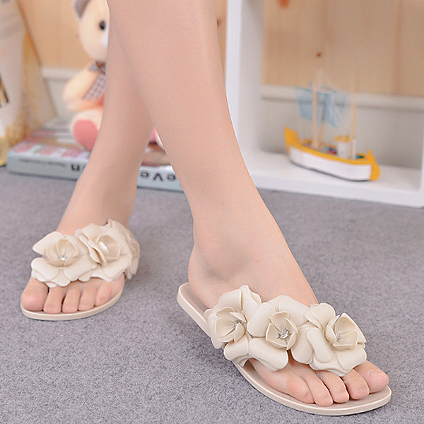 Camellia Flower Women Sandals Flat Flip Flops Bohemian Gladiator Sandals Beach Slippers