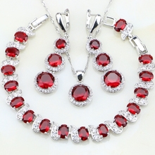 925 Sterling Silver Jewelry Oval Red Cubic Zirconia White CZ Jewelry Sets For Women Wedding Earrings/Pendant/Necklace/Bracelet