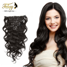 Body Wave Clip in Human Hair Extensions Malaysian Virgin Remy Hair Weaves Clip Ins Natrual Black Clip In Hair Extensions 120G