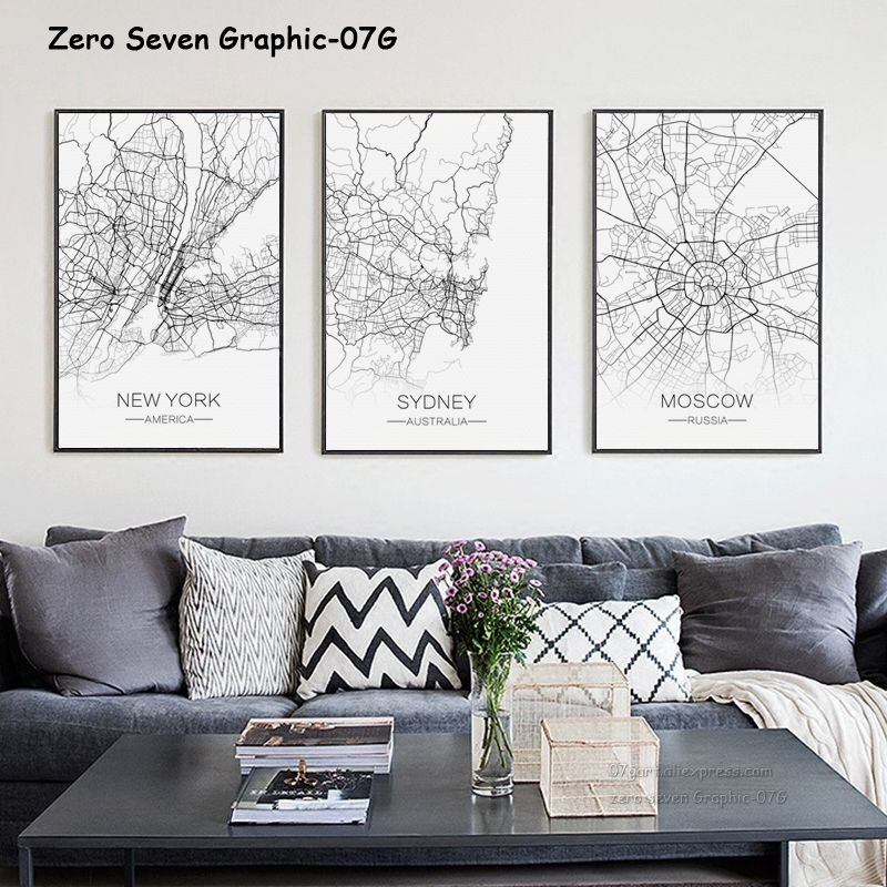 Nordic Decorative City Capital Lines Grid Map Canvas Painting Posters And Prints Wall Art Pictures For Living Room Home Decor