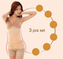 Hot !Postpartum Recovery Belt Abdomen+Stomach+Pelic 3 Sets Underwear Fat Burning Body Shapers women's waist training corsets