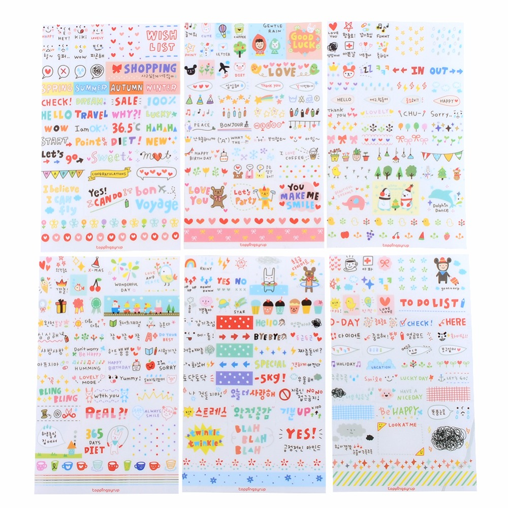New Cute Lovely 6 Sheet Paper Stickers for Diary Scrapbook Book Wall Decor for decoration*Cartoon stickers tassels pillow