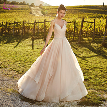 Waulizane Organza And Pleat Tulle V-Neckline  A Line Wedding Dresses Princess Backless Gown With Beading Belt