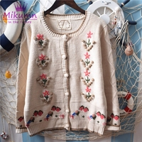 Japanese Mori Girl Sweet Crochet Embroidery Flower Knitted Sweater Cardigan 2019 Spring Autumn Women Sweater Coat