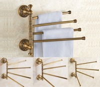 Antique Vintage Brass Towel Holder Swivel Bar Bath Rack Rail Bathroom towel Rack American European