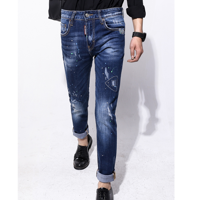 ФОТО dsq jeans NALANXINDE fashion Men Pencil Pants High Waist Jeans Sexy Slim Skinny Pants Trousers Fit Jeans frayed new Jeans 1802