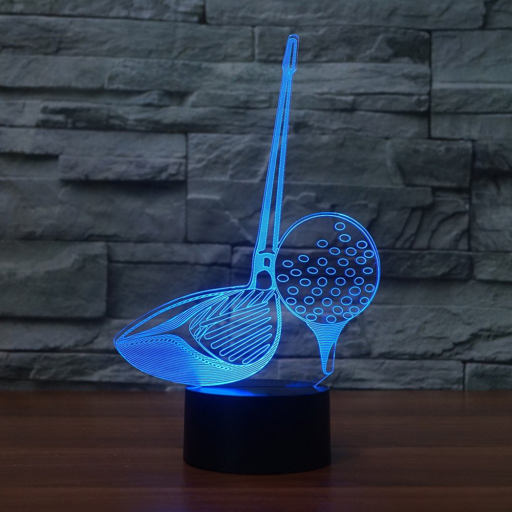 3D Led Sleep Lighting 7 Colorful Golf Club Tool Modelling Night Light Touch Switch Table Lamp For Golfer Gifts Usb Office Decor