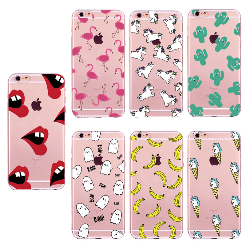 Cute Unicorn BOO Flamingos Ice Cream Fruit Banana Cactus Sexy Lips Clear Soft TPU Silicone Case