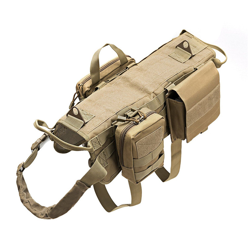 Tactical Dog Training Vest Harness Military 600D Nylon waterproof Harness Detachable Molle Pouches Patches Large Dogs