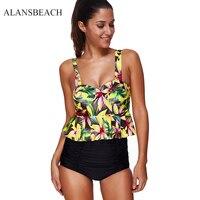 AALANSBEACH High Waist Bikini Set Sexy Padded Swimsuit Sport Bikini Female Beach Bathing Suit Swimming Wear