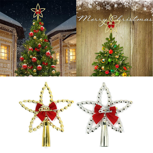 newest star shaped christmas tree toppers with bowknot xmas christmas tree decorations for treetops of christmas - Christmas Toppers