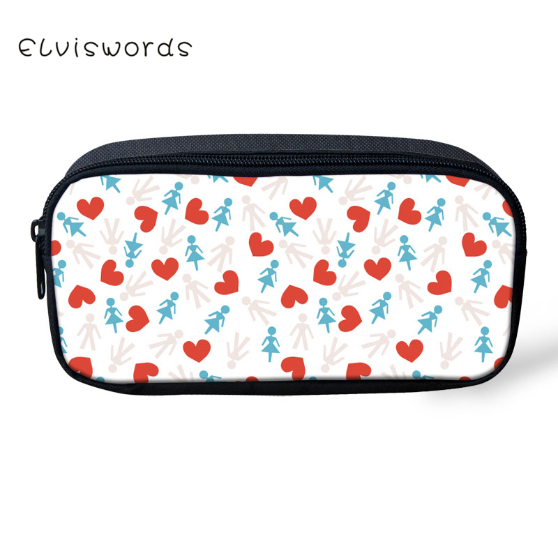 ELVISWORDS Floral Crane Printed Pencil Bags Adorable Women Cosmetic Bags Children Girls Boys Stationery School Supplies in Cosmetic Bags Cases from Luggage Bags