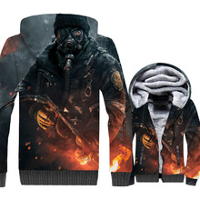 Tom clancys The Division Jacket Men 3D Game Hoodie Hip Hop Hooded Sweatshirt Winter Thick Fleece Warm Zipper Coat For Gamer