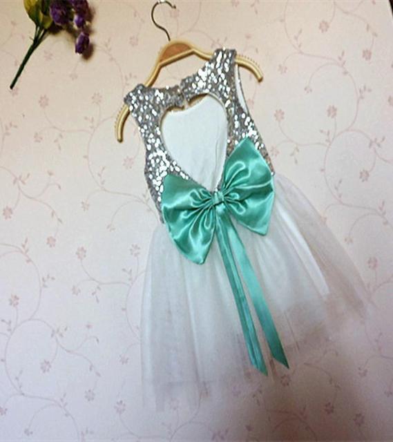 Everweekend New Kids Девушки Туту Блестки Партия Dress Большой Лук Любовь Выдалбливают Оборками Принцесса Dress Silver Color Dress Оптовая