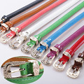 10 Color Fashion Women Leather Belt Candy Color Thin Belt High Quality Alloy Buckle Belt 2016 New Female Bel X005t