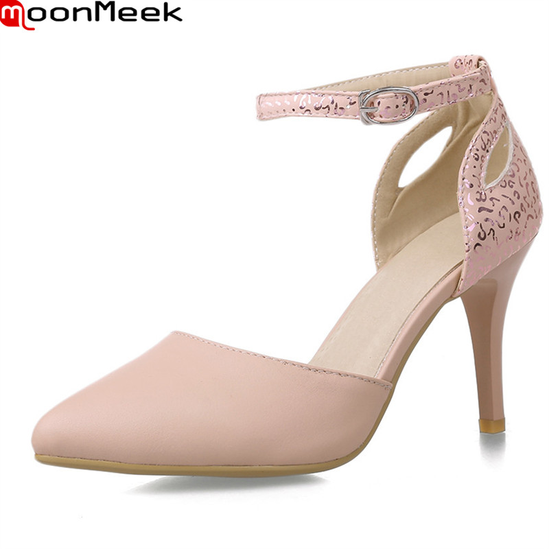 MoonMeek 2018 hot sweet pumps women high heels pointed toe with buckle thin heel party weddding pink white shoes ladies shoes moonmeek new arrive spring summer female pumps high heels pointed toe thin heel shallow party wedding flock pumps women shoes