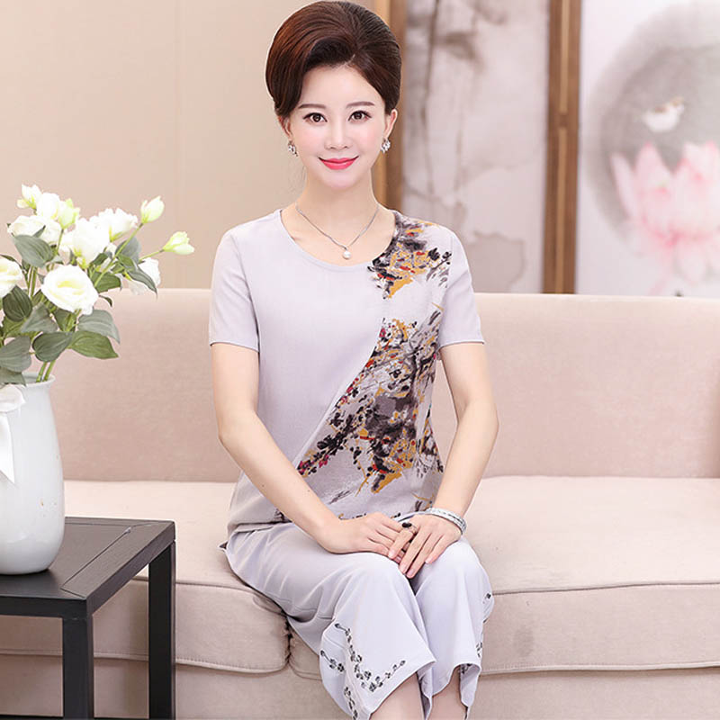 Middle aged women's wear summer new cotton and linen short-sleeved suit  PB112045-9463