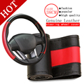 BACANO Genuine Leather Steering Wheel Cover,Car Styling Accessories Volante Esportivo,DIY Handmade Case With Needles and Thread