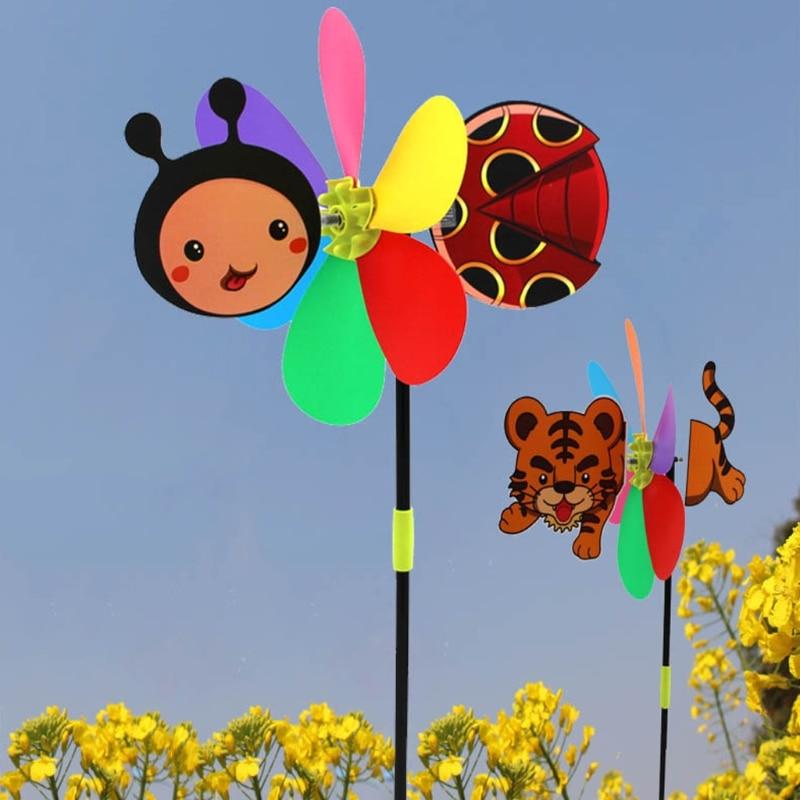 OOTDTY Colorful Cartoon Animal Windmill Wind Spinner Home Garden Yard Outdoor Decor