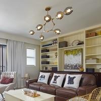YNL Modern Loft Transparent Gold Glass Ball Branching Bubble Pendant Lights E27 LED lamp for Living room Lighting