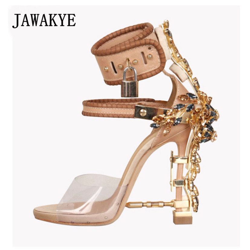 Jeweled high Heels Gladiator Sandals Women Ankle Buckle Strap Lock PVC Clear Peep Toe Rhinestone Summer Shoes Sandalias mujer sorbern women sandals shoes real image pvc clear heels buckle strap 15cm heels crystal sandalias mujer 2018 summer shoes women