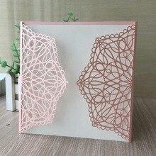 25 шт./партия уникальные розовые кружевные цветочные приглашения жемчужные бумажные карты для свадьбы помолвки 16th день рождения матери юбилей