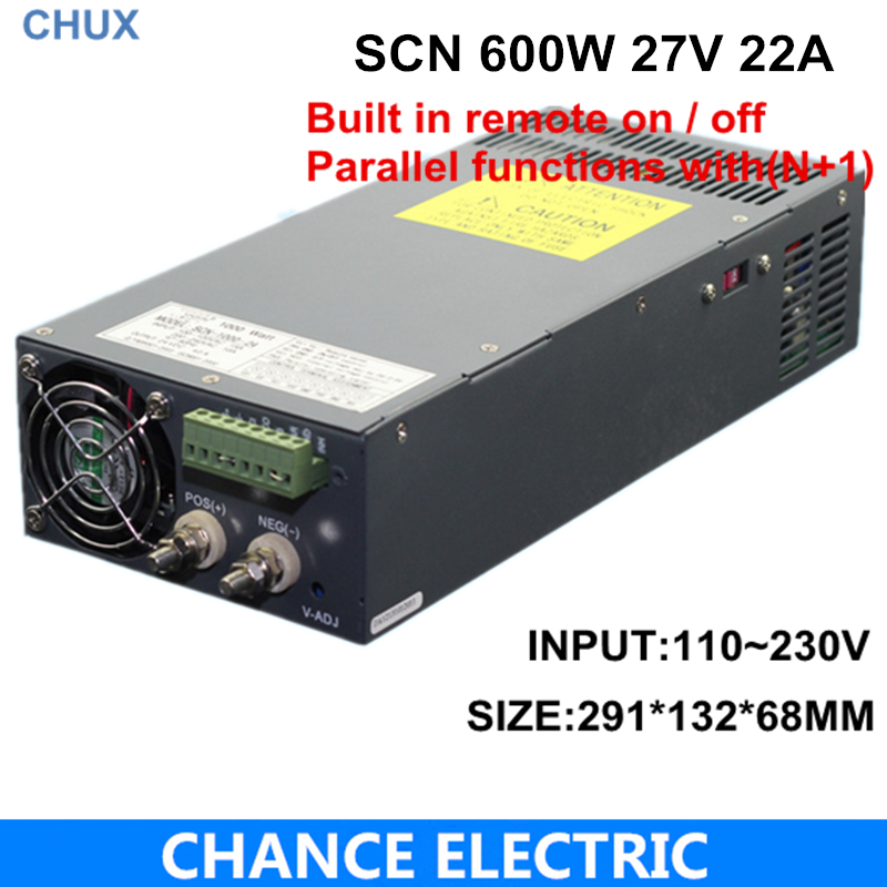 27v 22a switching power supply SCN 600W 110~220VAC SCN single output for cnc cctv led light(SCN-600W-27V) цена