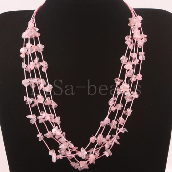 Free Shipping New without tags 5X8MM Chip Beads Nylon Line Weave Pink Crystal Necklace 19 1Pcs RE088