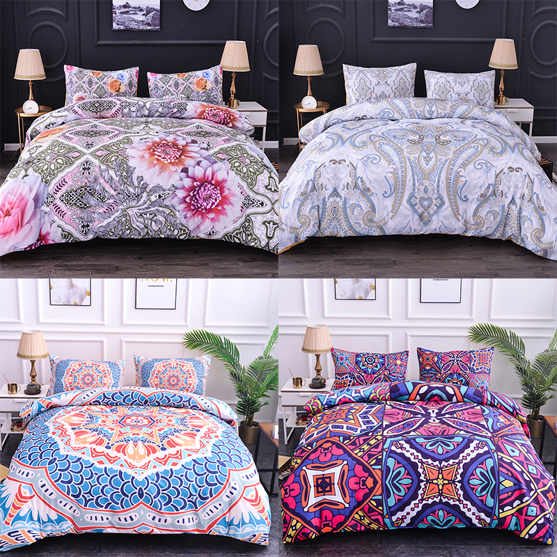Boniu Mandala Flower Bedding Set 2/3pcs Floral Pattern Duvet Cover Pillowcase Set EU/US Double Queen Size Bohemian Bedclothes