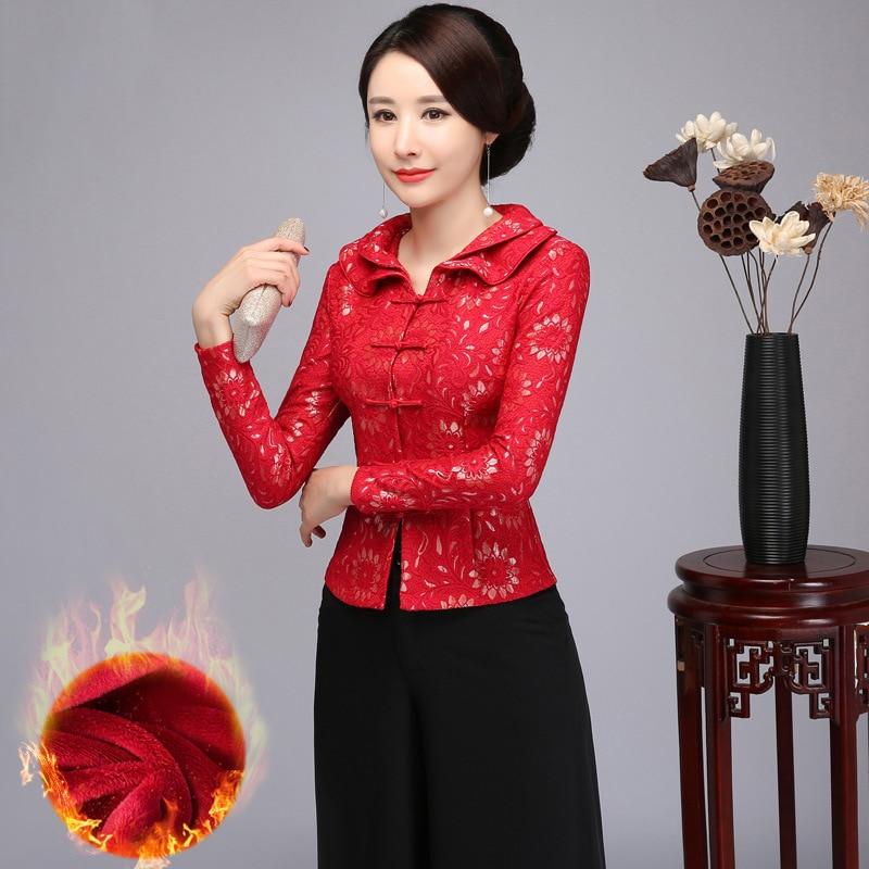 Élégant femmes hiver nouveau chemisier épais chaud à manches longues chemise chinois Vintage Mandarin col manteau affaires fête vêtements M-4XL