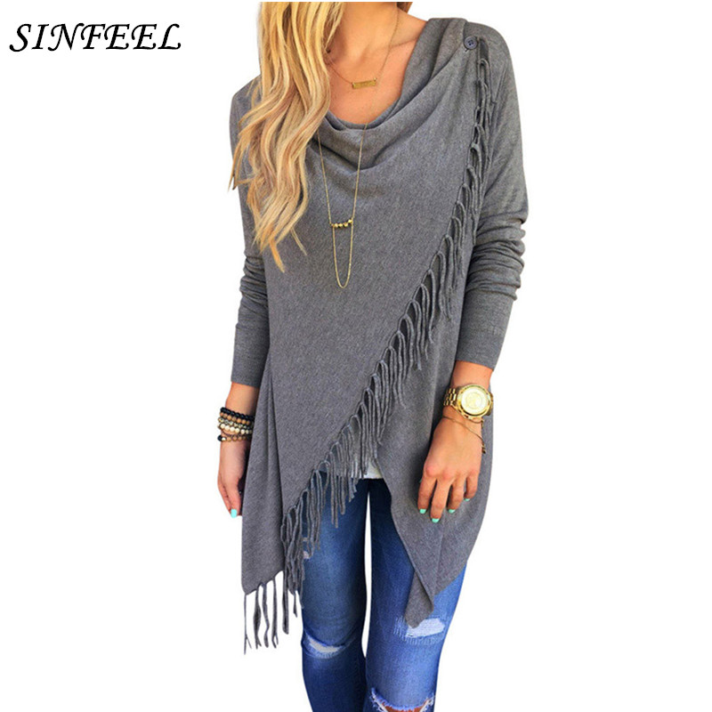 Fashion Spring Autumn Women Cardigan Singel Button Loose Shawl Scarf Ladies Tassel Poncho Long Knitted Sweater Winter Cape Coat