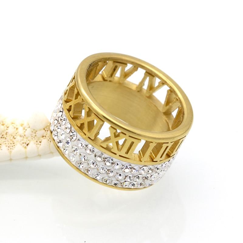 12mm szerokość 3 rzędy kryształowe pierścienie dla kobiet anel - Modna biżuteria - Zdjęcie 4