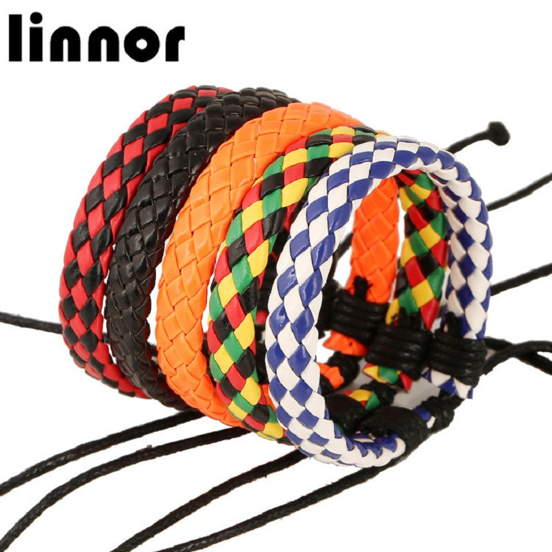 Linnor Casual Sporty PU Braided Bracelet Friendship Wristband Adjustable Cordao Braslet pulseira masculina de couro feminina
