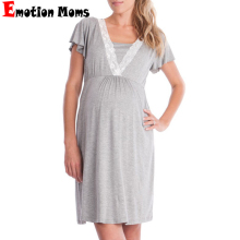 Summer Maternity Hospital Night Gown Pregnant Dress Breastfeeding Nursing Pajamas