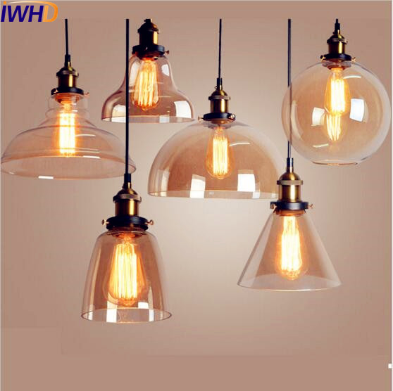 IWHD Glass Style Loft Industrial Pendant Light Dinning Room Edison Retro Vintage Lamp American Hanglamp Home Indoor Lighting