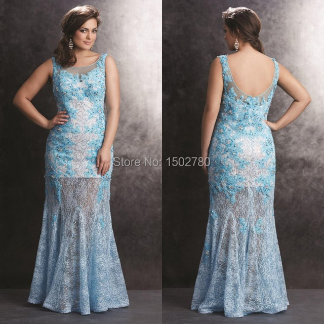 Blue Appliques Maxi Prom Dresses For Chubby Girls Low Back Transparent Skit Party Dress Plus Size