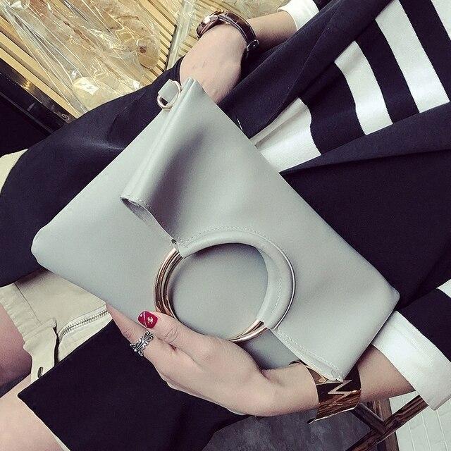 5c30830aa 2 pcs Nova Moda Personalidade Anel de Metal Envelopes Bolsas Mulheres  Partido Dobrável Saco Embreagem Ombro Mensageiro Balde Bolsa