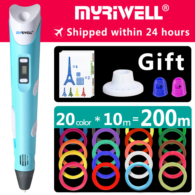 myriwell 3d pen 3d pens,1.75mm ABS/PLA Filament, 3d model,3d printer pen-3d magic pen,Kids Christmas present birthday present myriwell magic 3d printer pen 1 75mm abs pla pcl 100m 200m filaments 3d pen kids intelligence education gifts 3d doodle pen