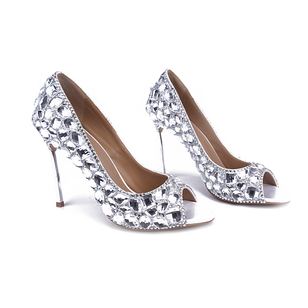 hot selling iron thin heels woman pumps sexy open toe big crystal embellished high heel shoes slip-on dress heels wedding shoes hot selling crystal embellished wedding heels sexy peep toe platform pumps woman high heel shoes