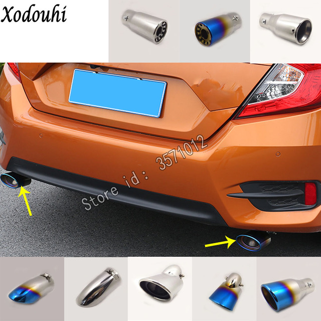 For Honda Civic 10th Sedan 2016 2017 2018 Car Cover Ler Exterior End Pipe Dedicate Exhaust Tip Tail Outlet Ornament 1 2pcs