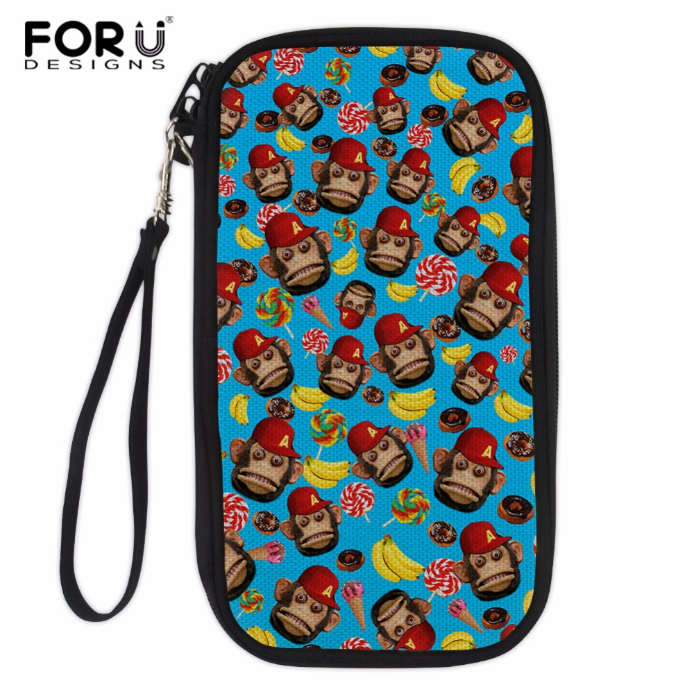 FORUDESIGNS Monkey Printed Multi-purpose Travel Passport Wallet Used To Store Passport,ID Card,Charger Data Cable,Banknotes