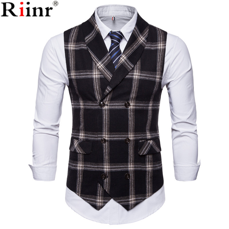 Riinr New Classic Plaid Suit Vest Men Slim Fit Double Breasted Vest Waistcoat Mens Business Wedding Tuxedo Vest Gilet Homme
