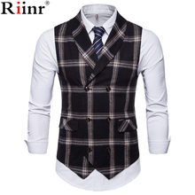 Riinr Nieuwe Klassieke Plaid Pak Vest Mannen Slim Fit Double Breasted Vest Mens Business Wedding Tuxedo Vest Gilet Homme(China)