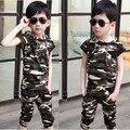 Подростков одежда дети с коротким рукавом с капюшоном футболка + брюки два костюма летом камуфляж детская одежда большой мальчик спортивный набор