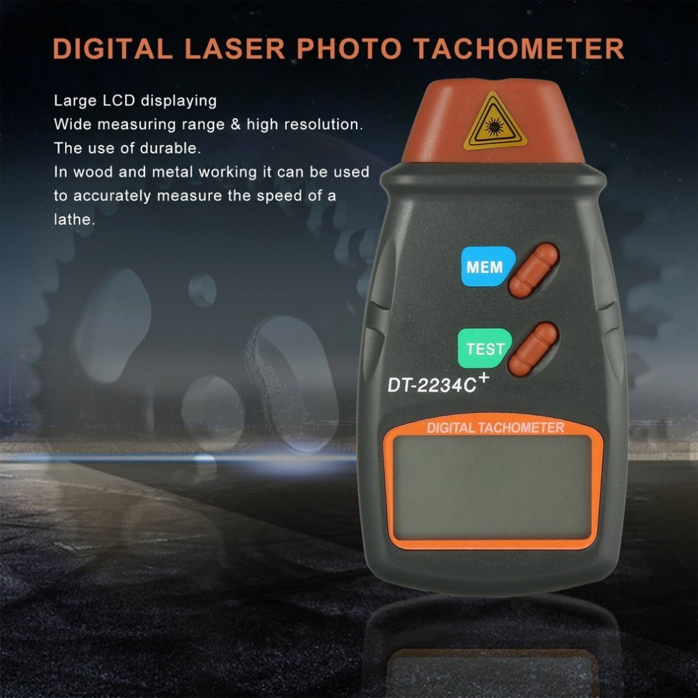 New Digital Laser Photo Tachometer Non Contact RPM Tach Digital Laser Tachometer Speedometer Speed Gauge Engine