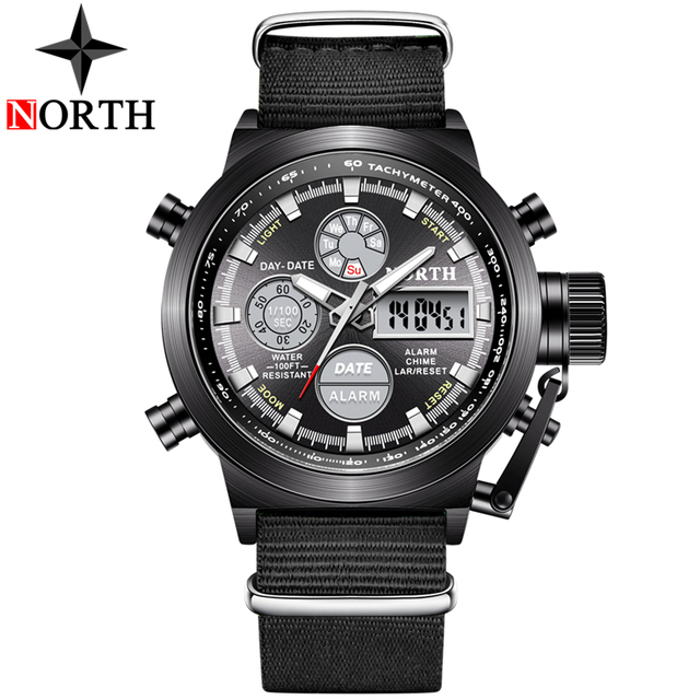 NORTH Sport Watch Men Military Quartz Watches For Men Analog LED Digital Leather Nylon Men Watches Casual Waterproof Wristwatch 1
