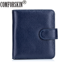 COMFORSKIN Guaranteed 100% Cow Leather Women Wallet 2017 Brand Fashion Two-fold Magnetic Buckle Woman Carteira Feminina